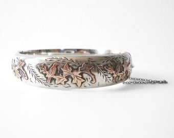 Joseph Smith & Sons Sterling Silver Hinged Bangle Bracelet With 9K Rose Gold Applied Leaf Design Made In Chester England