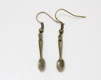 Bronze Mini Spoon Earrings