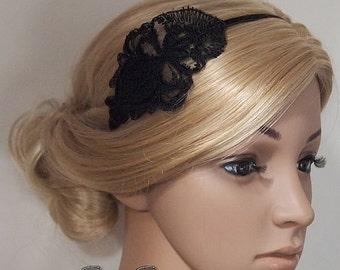 SALE Flower Girl Headband, bridal headband, Bridesmaids Headband, Flapper Headband, Gatsby headband, 1920s Headband, Black White Lace headba