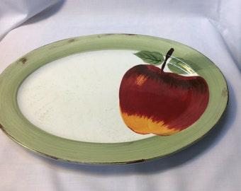 Vintage Cambridge potteries oval platter apple sauce hand painted