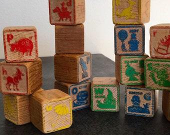 Vintage Sesame Street Blocks - 1970's ABC blocks - Vintage Play School Blocks