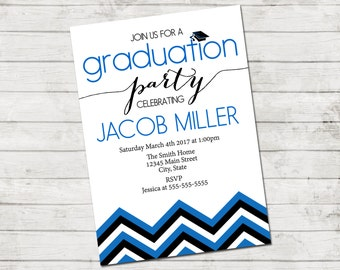 Graduation Party Invitation - Class of 2017 - Graduation Party - Chevron Stripes - Blue Black and White - Printable