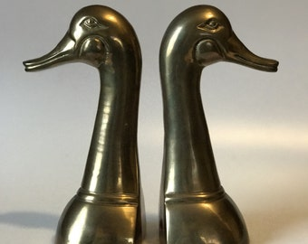 Tall Brass Vintage Duck Bookends