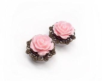 """SALE  16mm (5/8"""") Pink Rose Filigree Ear Plugs"""