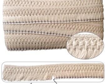 Cream Lattice Header Cotton Tassel Fringing 1mt - 25yd card