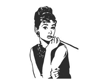 Audrey Hepburn Embroidery Machine Design