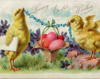 1907 Loving Easter Wishes Postcard Embossed and Vibrant Color by Raphael Tuck & Sons Publisher to Their Majesties The King and Queen