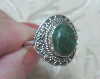 Malachite Sterling Silver Ring Size 9