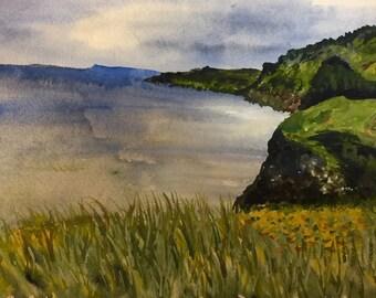 Ireland Painting - Watercolor fine art original - Ireland Landscape - Irish print - watercolor - wall art - landscape - ocean scene, ireland