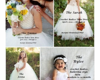 INSTANT DOWNLOAD Bundle - All Four Marley Ocean Crochet Bodice Special Occasion/Tutu Patterns, The Emma, The Jenna, The Sarah, The Rylee