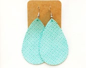 Turquoise and White Lattice Leather Teardrop Earring, leather statement earring, lattice print earring