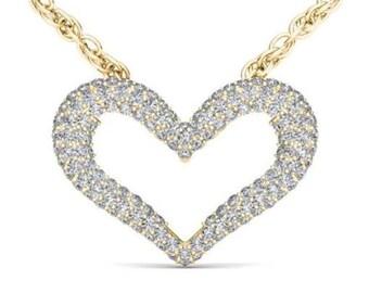10Kt Yellow Gold 0.33 Ct Diamond Open Heart Pendant