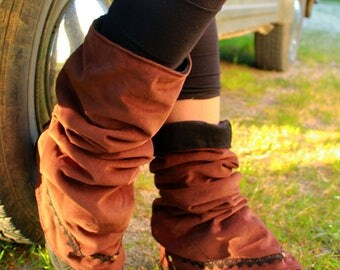 Forest pixy leg warmers with Corduroy & fleece... festival hippie fantasy