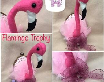 Flamingo Faux Taxidermy Trophy Head