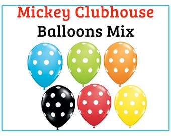 "Mickey Mouse Clubhouse polka dot Print 11"" Balloons birthday party decorations red black yellow blue green orange"