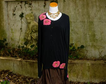 Boho Large Sweater, Gypsy Clothing, Boho Altered Top, Refashioned Couture, Lagenlook, Upcycled Bohemian Sweater for Women, Artsy,  Size XL