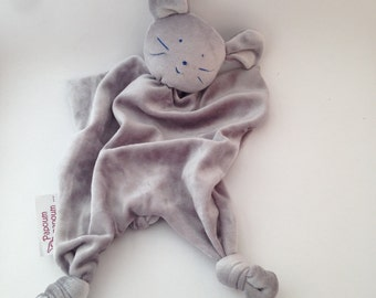 Bamboo organic cotton baby blanket grey Mouse from Papoumpapoum