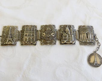 Vintage Paris Souvenir Bracelet, Paris Landmarks, Raised Relief Panel Bracelet, Statement Bracelet