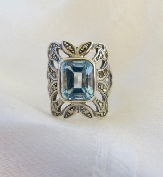 Sterling Aquamarine Ring with Marcasites, Emerald Cut Aquamarine Stone Size 6.5