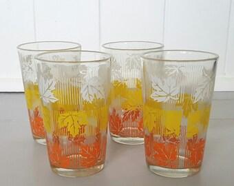 Vintage Glasses Tumblers Autumn Leaves x 4