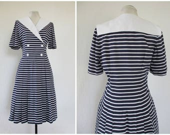 1980s Dress Nautical Sailor Dress Navy Blue and White Stripe Dress Cotton Sailor Collar Drop Waist Dress with Pleated Skirt S / M