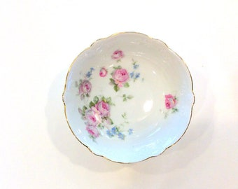 Vintage German Bowl Pink Roses Blue Flower Motif Gold Rim Scalloped Edges Replacement China Shabby Chic China Vintage Wedding Place Setting