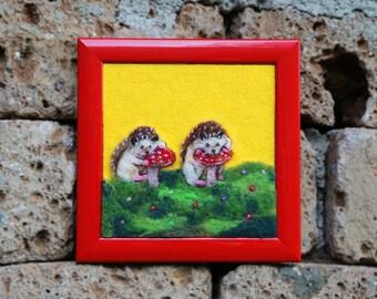 Needle Felted Painting, Hedgehog Art, Hedgehog Painting, Hedgehog Decor, Waldorf, Woodland Nursery Decor, Wool Painting, Mushroom, Framed