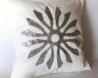 Silver Glitter Snowflake Pillow  snowflake decor  snowflake pillow  winter decor  winter pillow  holiday decor  winter home decor 