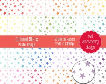 75% OFF Sale - 56 Digital Papers - Colored Stars Pastel Range - Instant Download - JPG 12x12 (DP283)