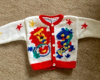 Vintage 1980's Children's knit circus sweater 18 mos.