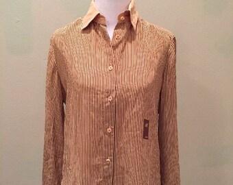 Vintage 70s 80s Daniel Hechter Silk Blouse Ladies Shirt Secretary Striped Sz 6 Paris