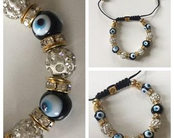 Blue Bead Turkish Evil Eye Bracelet Adjustable Good Luck Bracelet