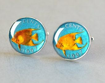 Cufflinks Bermuda enamel fish Coin