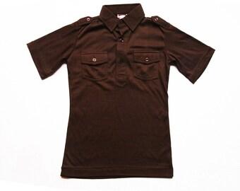 NOS dark brown 70s shirt for boys size 10y / 12 y deadstock