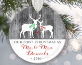 Our First Christmas as Mr & Mrs, Faux gray wood, Personalized Buck and Doe Deer Christmas Ornament Newlywed Ornament Wedding Ornament OR099
