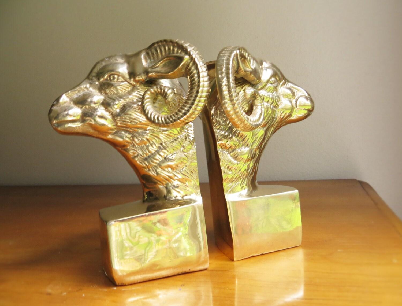 Vintage brass ram bookends brass figurines brass bookends - Antique brass bookends ...