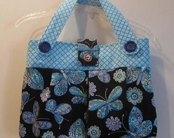 Blue Butterfly Handbag/Purse/Tote