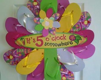 Tropical Print 5 O'Clock Somewhere Flip Flop Wreath Costal Decor Beachy Margaritaville