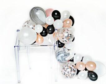 Balloon Garland Kit - Neapolitan Swirl - Black, White, Marble, Rose Gold Party - Chic Party Balloons