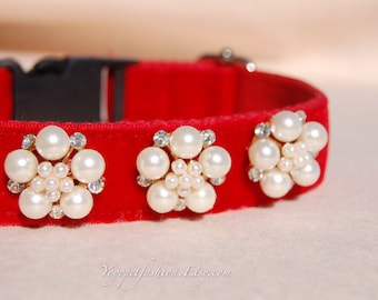 cute red dog collar!Perfect gift for dog ,cute red panne velvet with pearl flowers dog collar.Afternoon tea dog collar.dog wedding collar