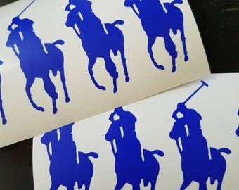 8 or 16 Equestrian Horse Polo Rider Vinyl Sticker or name Vinyl Sticker
