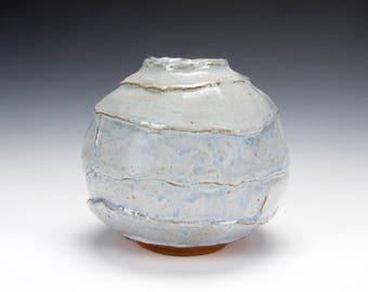 Red Stoneware Slate Blue Bud Vase