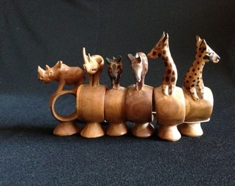 Vintage 1960's Hand Carved 6 Wooden Napkin Rings from Kenya African   (LDT3)
