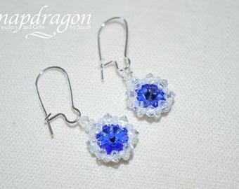 Netted Swarovski crystal rivolli drop earrings.
