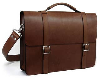 Medium Brown Messenger Bag / Briefcase - With Large single gusset made of Full Grain Leather