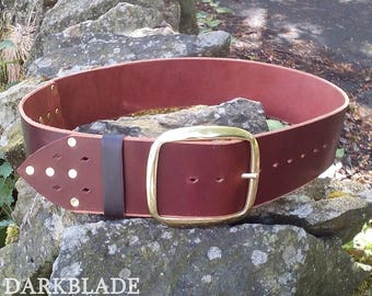 """Leather Pirate Belt, 3"""" wide, solid brass buckle, for Larp, Cosplay or Costume, Black Sails, Caribbean"""