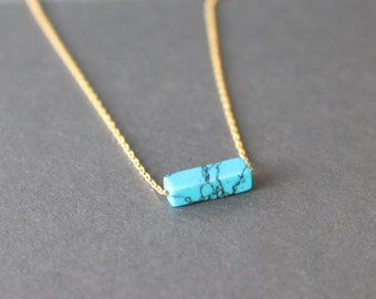 Turquoise necklace // Rectangular turquoise necklace