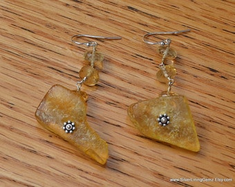 AAA Chunky Free Form Amber Nugget and AAA Citrine Sterling Silver Dangle Earrings. Matching Necklace Available.