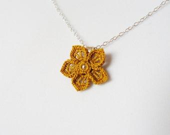 Yellow Mustard Crochet Lace Flower Pendant