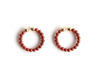 Red Jasper Non Pierced Earrings, Small Clip On Earrings, Natural Crystals Beaded Jewelry, Simple Ear Cuffs